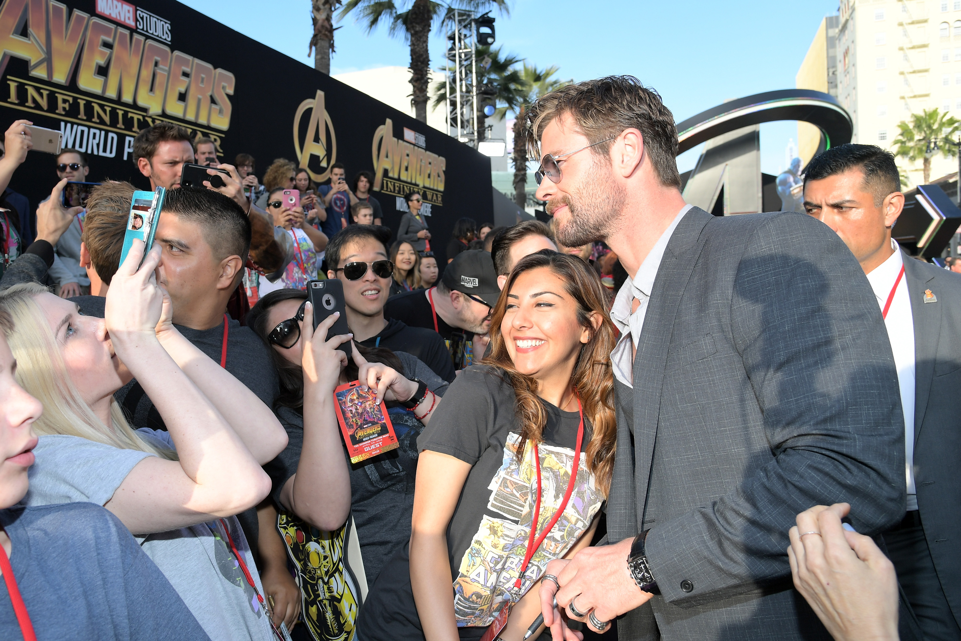 HOLLYWOOD, CA - APRIL 23:  Actor Chris Hemsworth (R) attends the Los Angeles Global Premiere for Marvel Studios' Avengers: Infinity War on April 23, 2018 in Hollywood, California.  (Photo by Charley Gallay/Getty Images for Disney) *** Local Caption *** Chris Hemsworth