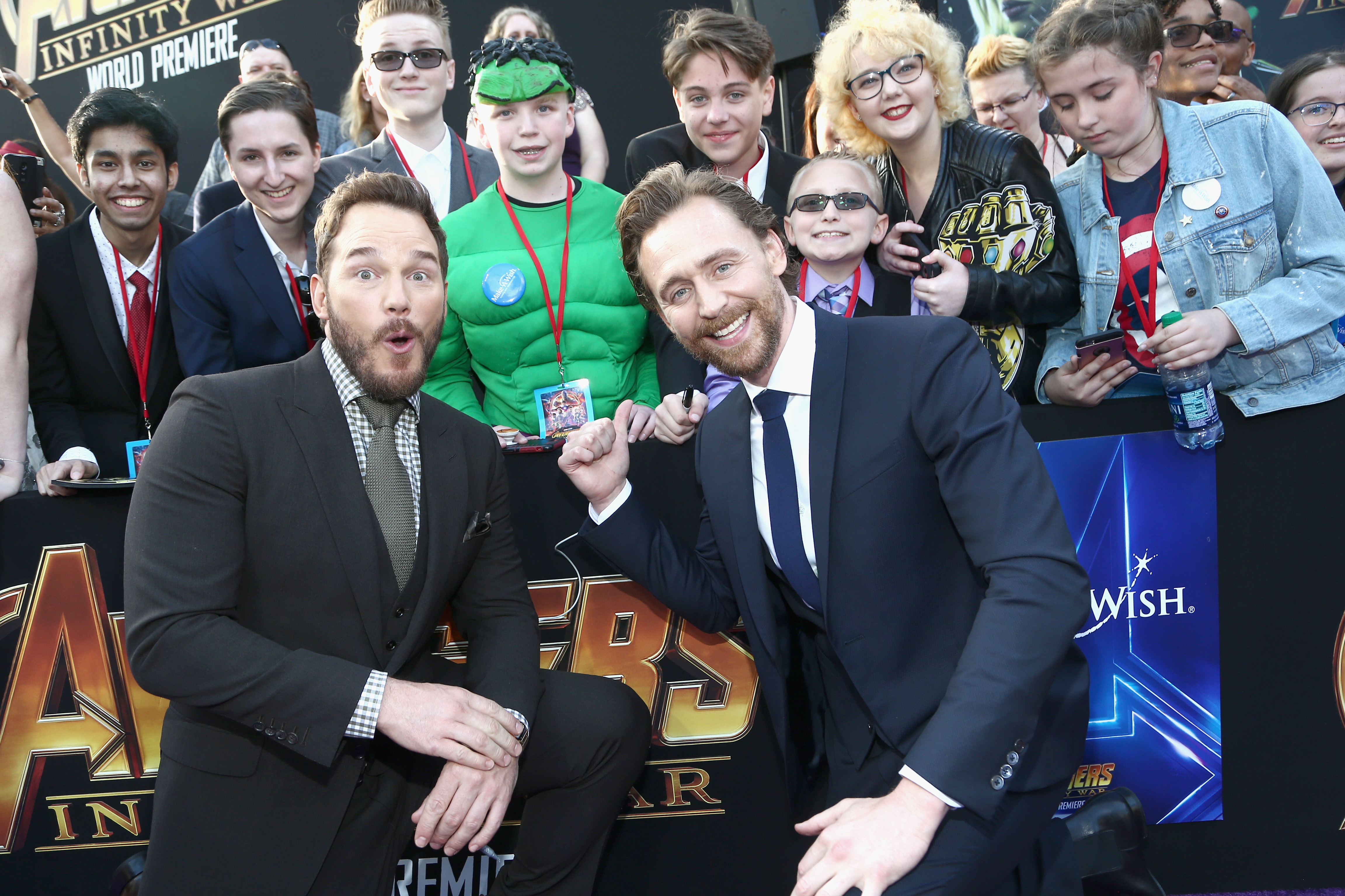 HOLLYWOOD, CA - APRIL 23:  Actors Chris Pratt (L) and Tom Hiddleston attend the Los Angeles Global Premiere for Marvel Studios' Avengers: Infinity War on April 23, 2018 in Hollywood, California.  (Photo by Tommaso Boddi/Getty Images for Disney) *** Local Caption *** Chris Pratt; Tom Hiddleston